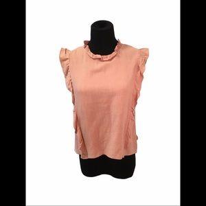 Mod.Ref ruffle sleeveless top,blush, size Large